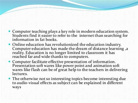 Computers In Education Essays by Easy Essay On Importance Of Computer Education