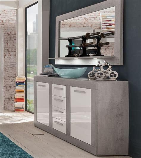 kommoden mit spiegel sideboard set wei 223 hochglanz betonoptik