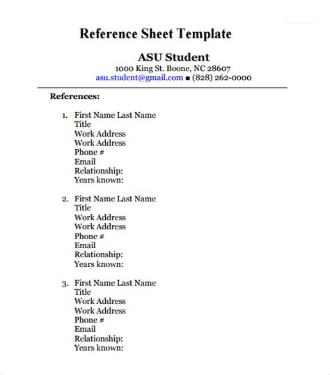 reference templates free reference sheet template 9 free documents in pdf