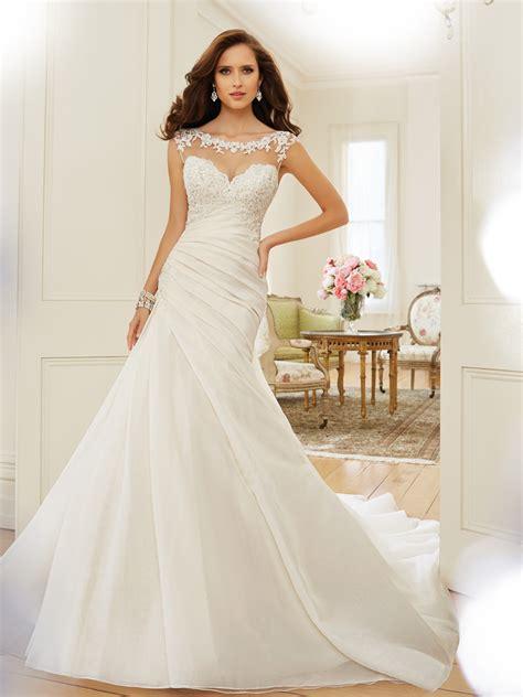 bridal gown design a line wedding dress with bateau neckline
