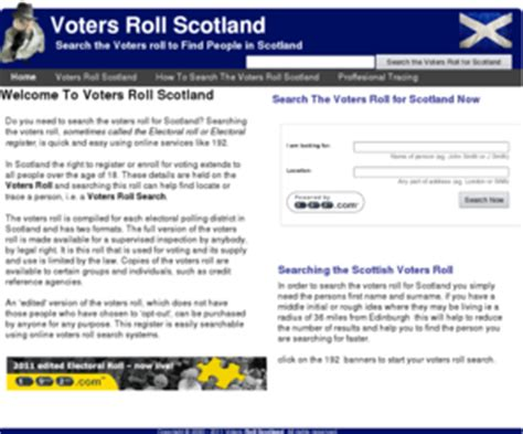 Electoral Roll Search By Address Free Votersrollscotland Voters Roll For Scotland Search The Scottish Voters Roll