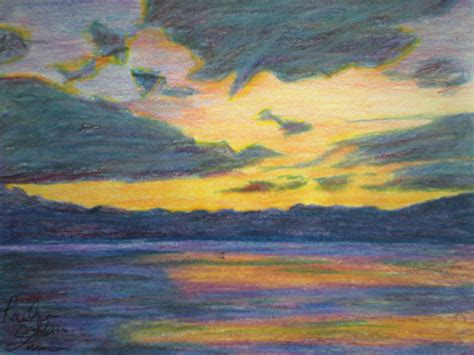 sunset colored pencil sunset colorful sunset pencil and in color
