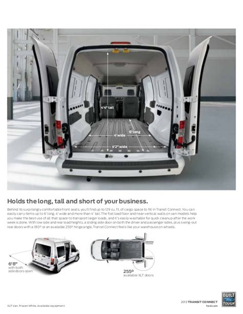 Ford Transit Connect Interior Dimensions by Ford Transit Connect Lwb Interior Dimensions