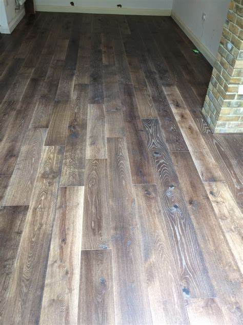 Tumbled London dark oak engineered   hand scraped and