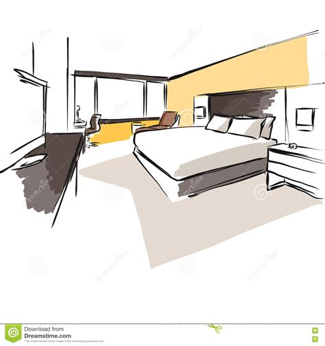 sketch a room layout interior hotel room concept sketch layout stock vector