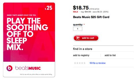 Download Music Gift Cards - subscribe to beats at a discounted rate target now selling beats music gift cards at
