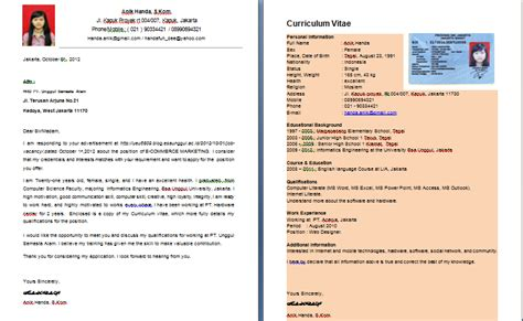 Contoh Application Letter And Cv Contoh Application Letter Curriculum Vitae My My