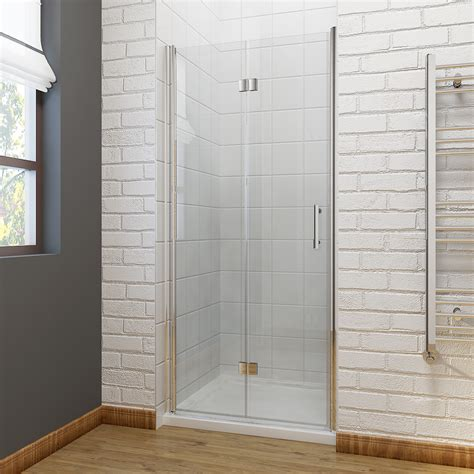 Folding Glass Shower Door Frameless Bifold Shower Door Enclosure Hinge Door Glass Screen Walk In Cubicle Ebay