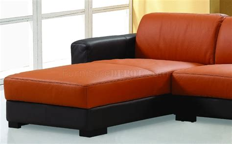 Orange Sectional Sofa Dico Sectional Sofa In Brown Orange Leather By Beverly