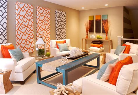 Orange Blue Living Room by Seaside Interiors Blue And Orange Color Combo