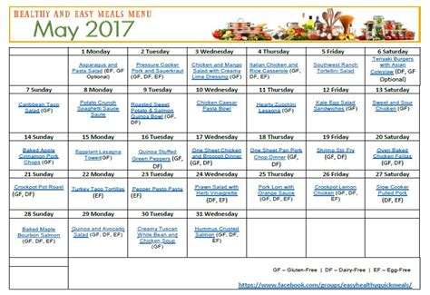 printable recipes for healthy eating easy healthy quick monthly menu plan