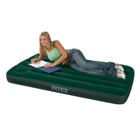 Intex Downy Air Bed Single Biru 68950 intex single size downy airbed with built in foot only airbeds co uk