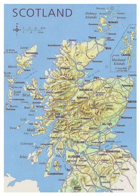 map of cities map of scotland with relief roads major cities and
