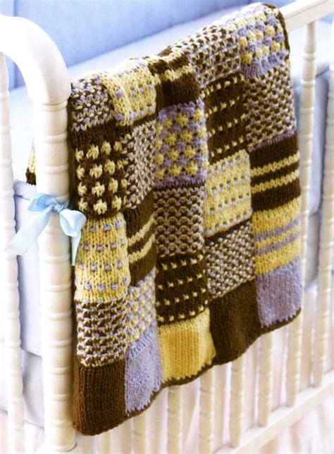 Patchwork Blanket Knitting Pattern - knit a square make an afghan free patterns