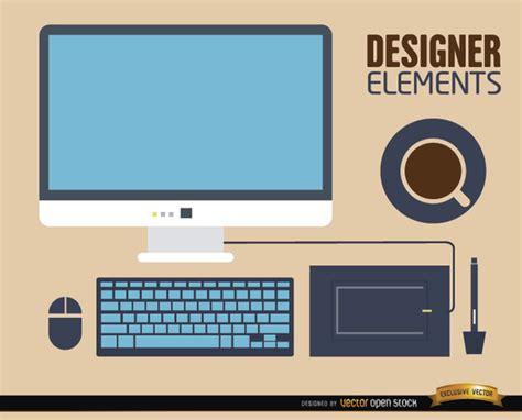 free computer desk computer desk work elements free vector 123freevectors