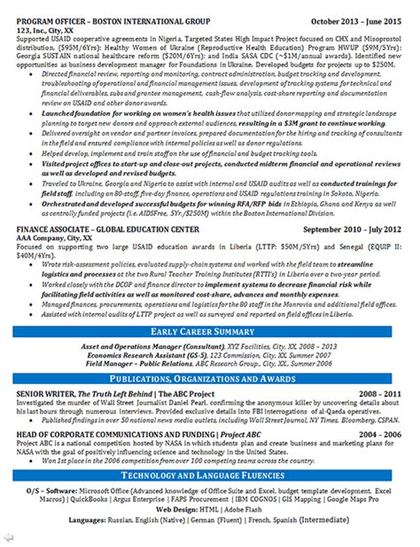 Program Officer by Program Manager Resume Exle Finance And Global Education