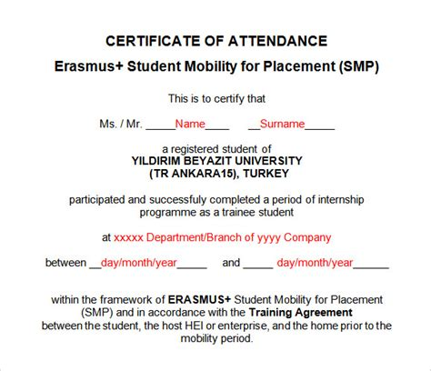 9 attendance certificate templates download free