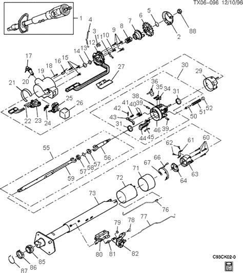 chevy truck steering column diagram exploded view for the 1993 chevrolet tilt