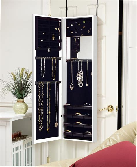 white wall mounted jewelry armoire amazon com plaza astoria wall door mount jewelry armoire