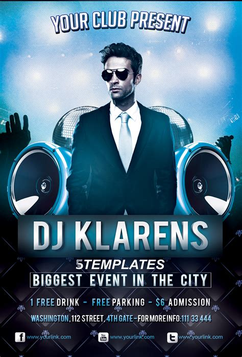 dj event poster templates free guest dj flyer free psd template by klarensm on deviantart
