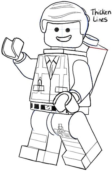tutorial lego movie how to draw emmet from the lego movie and lego minifigures