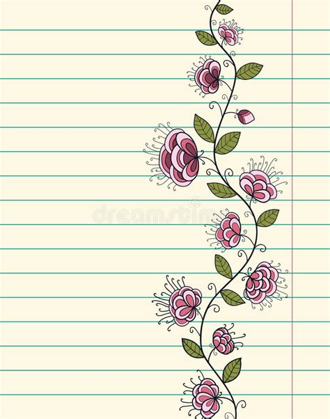 doodle sign up sheet lined paper sheet with doodle flowers stock vector image