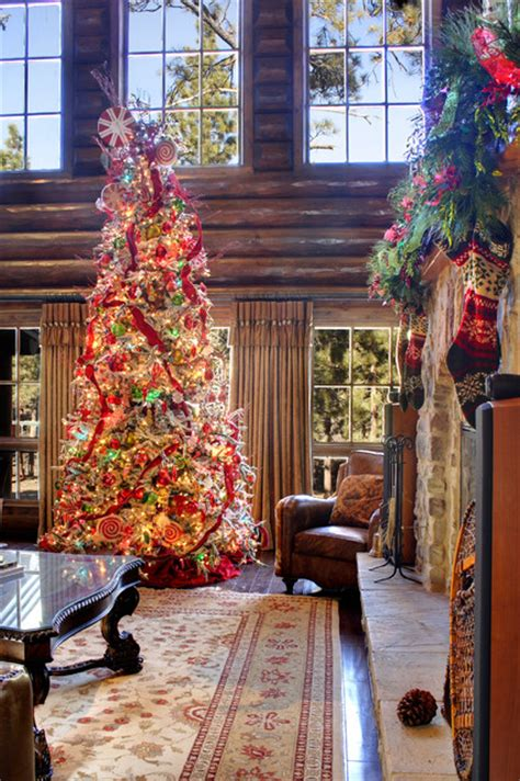 christmas tree decorators for hire los angeles log home for the holidays rustic family room los angeles by interiors on fox farm road