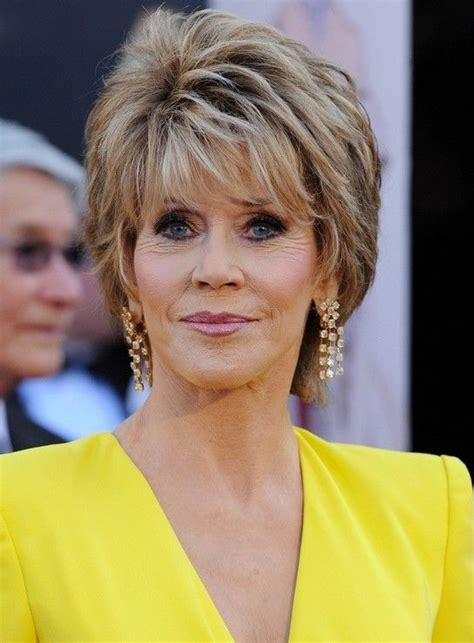 casual updos for women over 60 jane fonda short layered razor hairstyle for women over 60