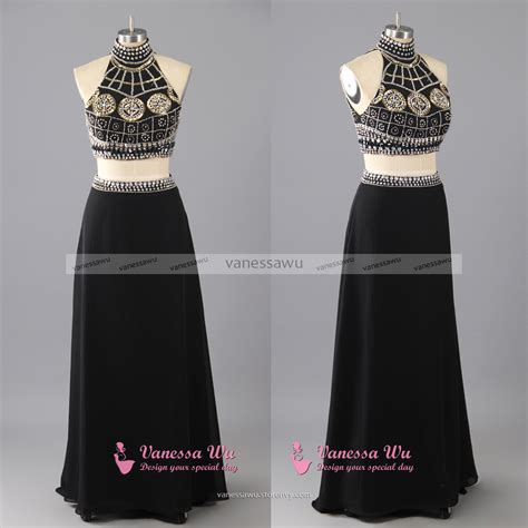 Dress Longcrop 95rb two halter prom crop top with skirt prom dress with keyhole back