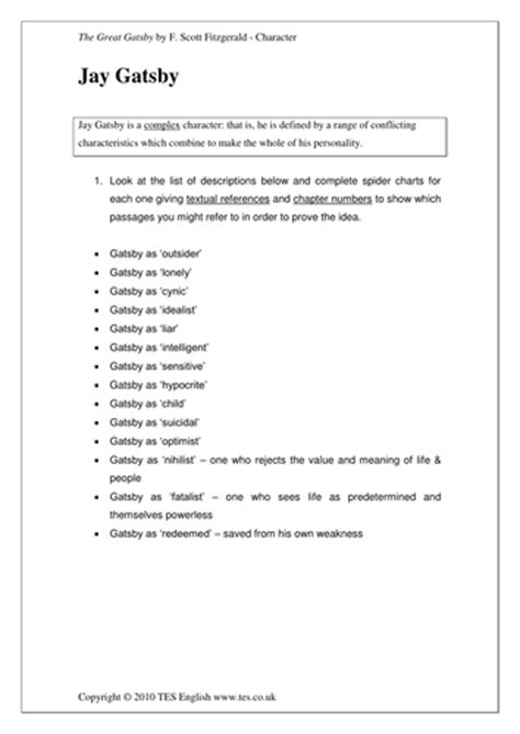 themes in the great gatsby worksheet the great gatsby characters and themes by tesenglish