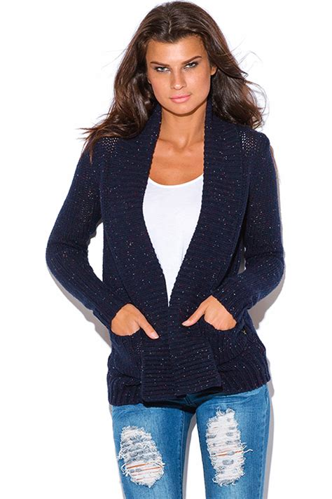 womens navy blue cable knit sweater shop wholesale womens navy blue speckled chunky cable knit