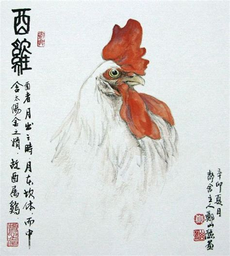 chinese zodiac rooster brush paintings pinterest