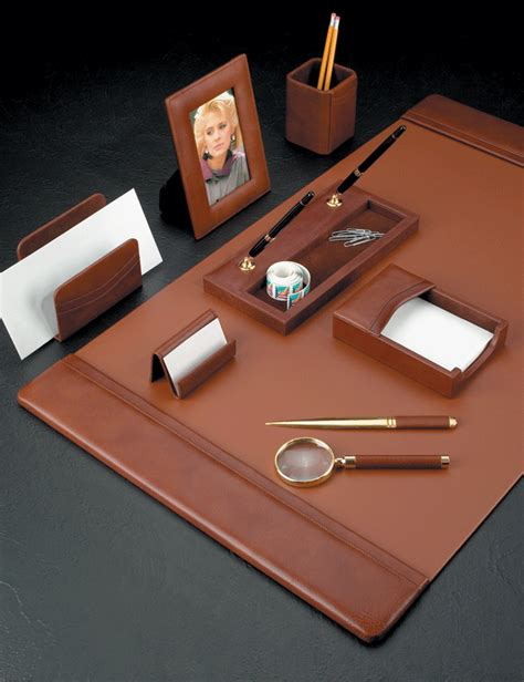 desk accessories for women antiqued tan leather desk collection with gold plated