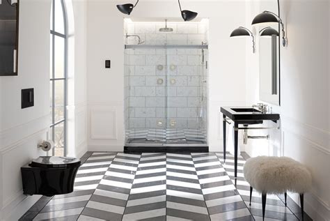 Mirrored Subway Tiles Bathroom Traditional With Black | mirrored subway tiles bathroom traditional with black