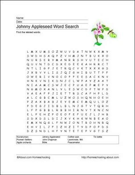 recurring themes crossword puzzle clue johnny appleseed wordsearch crossword vocab worksheet
