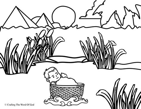 coloring pages baby moses basket moses in the basket coloring page 171 crafting the word of god