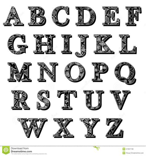 black and white pattern letter set of abc antiqua alphabet letters with pattern stock