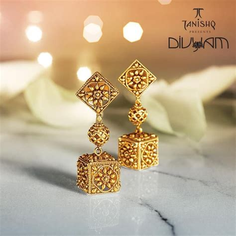 New Gold On The Design Collection by Pretty Gold Earrings By Tanishq S Divyam Collection
