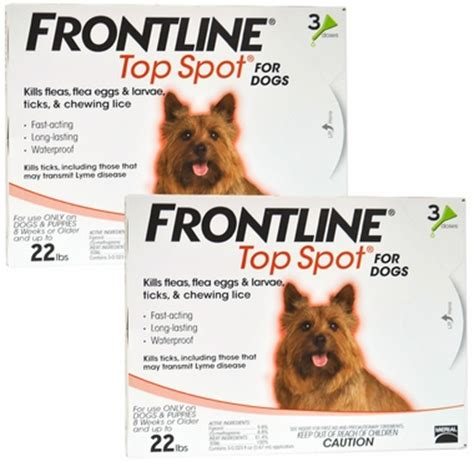 frontline spot on top for dogs 6 month frontline top spot orange for dogs up to 22 lbs