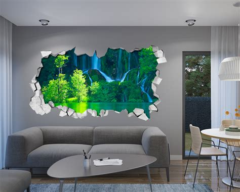 Sticker Quotes For Walls green waterfall 3d wallpaper moonwallstickers com