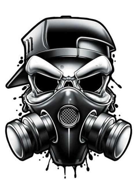 gas mask black and grey temporary tattoos tatt me
