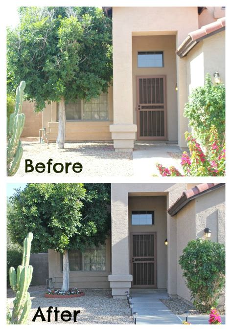 before and after curb appeal adding curb appeal on a budget diy tree ring flower planter