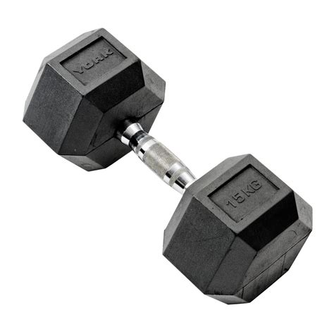 Dumbell 15kg york 15kg rubber hex dumbbell