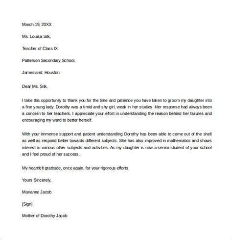 appreciation letter for professor thank you letter to template business