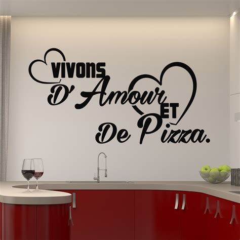 amour cuisine sticker citation vivons d amour et de pizza stickers