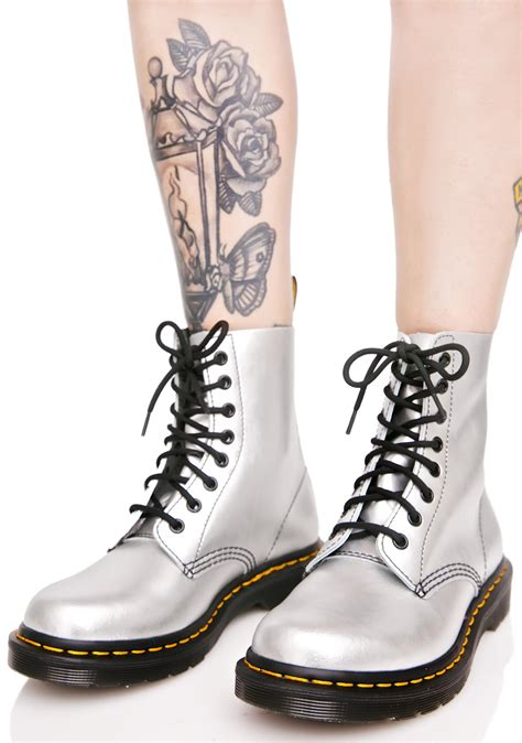 silver boots dr martens silver 1460 8 eye boots dolls kill