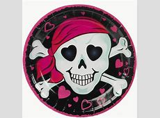 Pink Pirate Girl Plates | Sweet 16 Party Decorations ... Light Pink Hearts