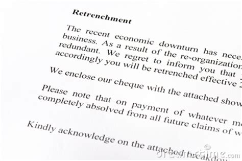 retrenchment letter royalty  stock photo image