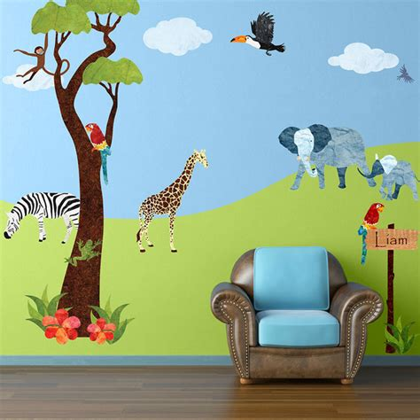 large jungle wall stickers jungle safari wall stickers contemporary wall decals other metro by my wonderful walls
