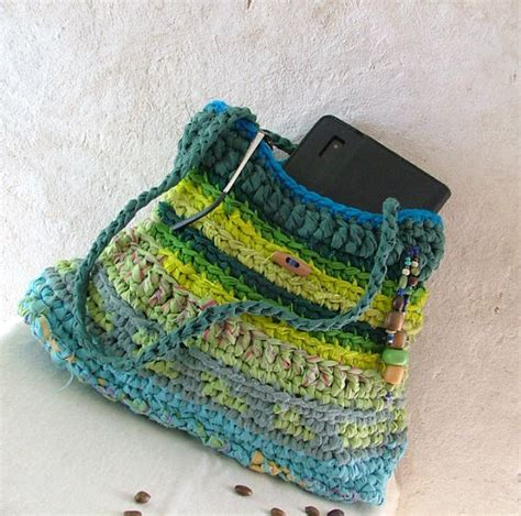 crochet rag bag pattern rag bag crochet upcycled shoulder bag blue green bag with